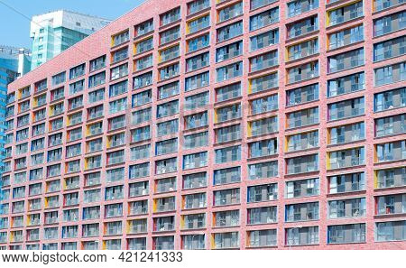 Moscow, Russia - May 18, 2021: Colorful Windows Of The Residential Complex Liner. Details Of Modern