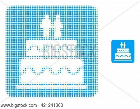 Marriage Cake Halftone Dotted Icon Illustration. Halftone Array Contains Circle Dots. Vector Illustr