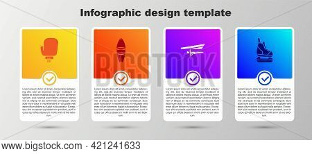 Set Boxing Glove, Surfboard, Hang Glider And Skates. Business Infographic Template. Vector