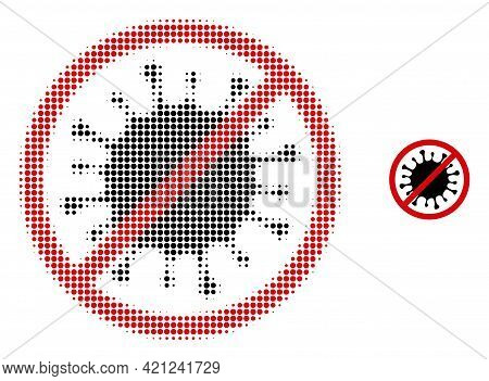 Stop Microbe Halftone Dotted Icon Illustration. Halftone Pattern Contains Round Points. Vector Illus