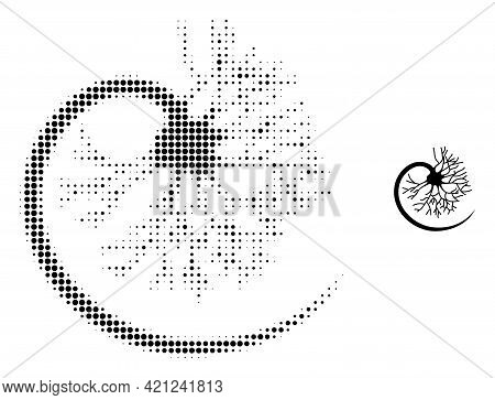 Neuron Halftone Dotted Icon Illustration. Halftone Pattern Contains Circle Dots. Vector Illustration