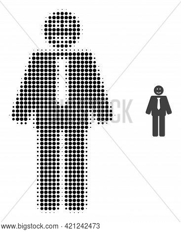 Happy Boss Halftone Dot Icon Illustration. Halftone Pattern Contains Round Elements. Vector Illustra