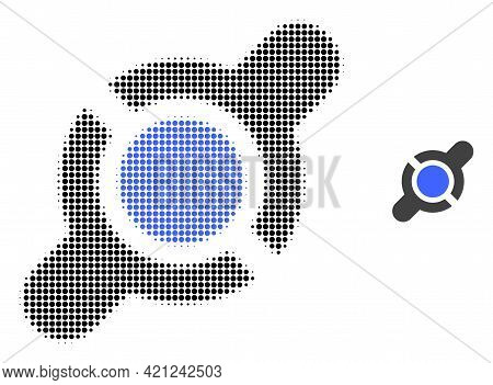 Joint Connection Halftone Dotted Icon Illustration. Halftone Pattern Contains Circle Dots. Vector Il