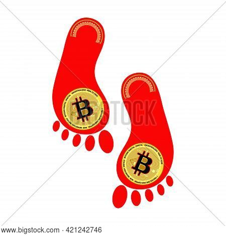 Bitcoin And The Red Trail. Falling Value Of Bitcoins. Fall Trade Concept. Vector Illustration. 10 Ep