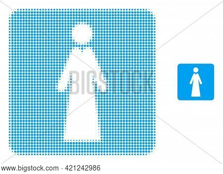 Lady Halftone Dot Icon Illustration. Halftone Pattern Contains Round Dots. Vector Illustration Of La