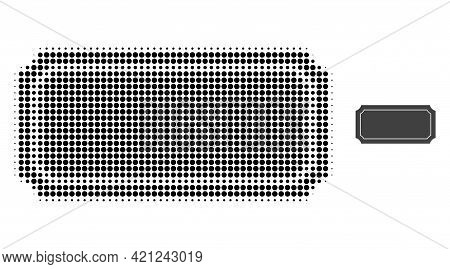 Ticket Frame Halftone Dotted Icon Illustration. Halftone Pattern Contains Round Pixels. Vector Illus