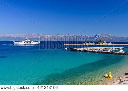 Trpanj, Dalmatia Region, Croatia - September 20, 2018: Cityscape Of Trpanj. Scenic Waterfront In Trp