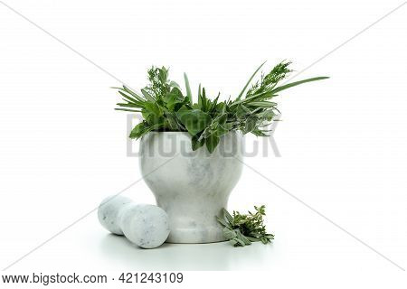 Mortar With Herbs Isolated On White Background