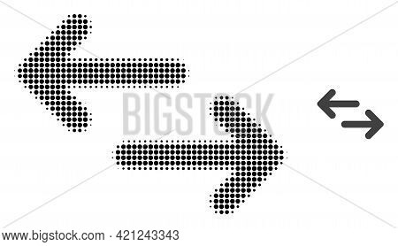 Exchange Arrows Halftone Dotted Icon Illustration. Halftone Array Contains Circle Points. Vector Ill