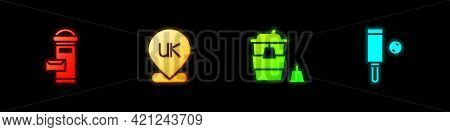 Set London Mail Box, Location England, Coffee Cup To Go And Wood Cricket Bat Ball Icon. Vector