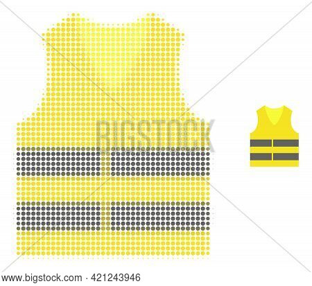 Yellow Vest Halftone Dot Icon Illustration. Halftone Pattern Contains Round Dots. Vector Illustratio