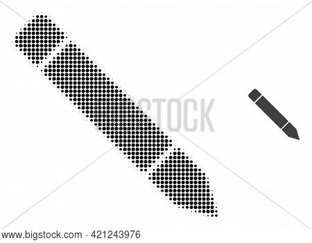 Pencil Halftone Dotted Icon Illustration. Halftone Pattern Contains Circle Pixels. Vector Illustrati