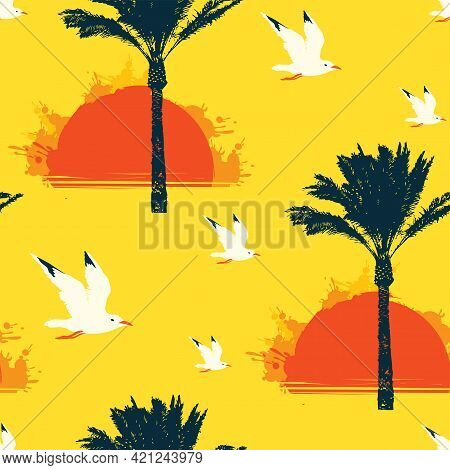 Seamless Tropical Pattern With Seagulls, Silhouettes Of Palm Trees And Red Rising Sun On A Yellow Ba