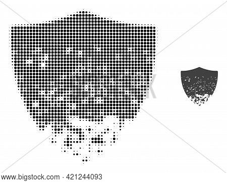 Damaged Shield Halftone Dotted Icon Illustration. Halftone Pattern Contains Circle Dots. Vector Illu