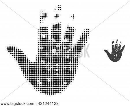 Destructed Hand Halftone Dotted Icon Illustration. Halftone Pattern Contains Round Points. Vector Il