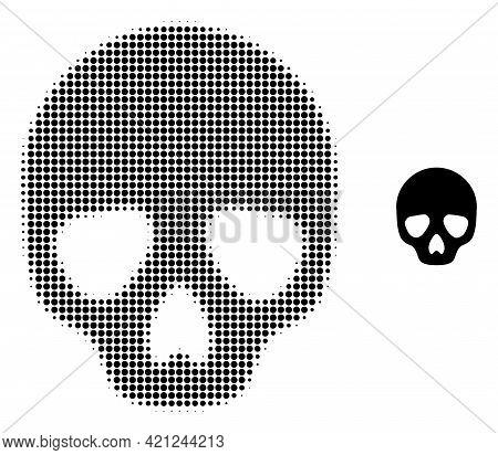 Skull Halftone Dot Icon Illustration. Halftone Array Contains Round Dots. Vector Illustration Of Sku