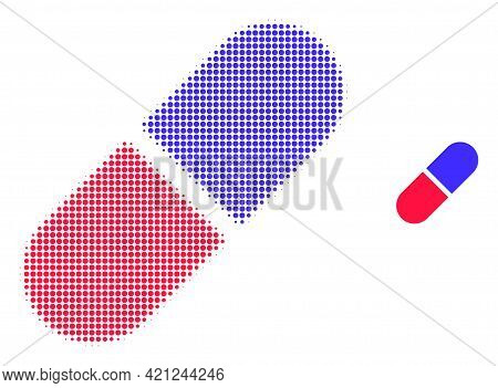 Medication Pill Halftone Dot Icon Illustration. Halftone Array Contains Circle Pixels. Vector Illust