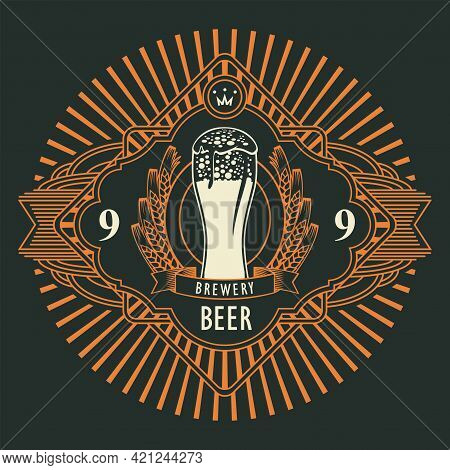 Beer Label Or Banner With Overflowing Glass Of Frothy Beer, Ears Of Wheat In An Ornate Frame With Ra