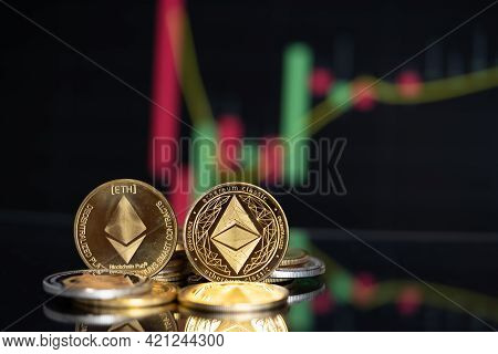 Focus Select And Blur Golden Ethereum Eth And Ethereum Classic Etc Group Crypto Currency Symbol And