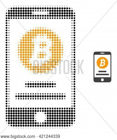 Mobile Bitcoin Account Halftone Dot Icon Illustration. Halftone Pattern Contains Round Elements. Vec