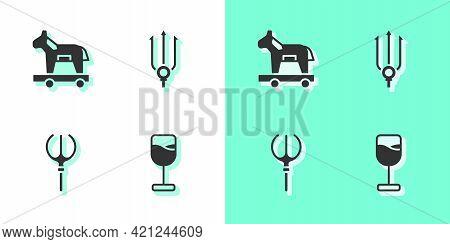 Set Wine Glass, Trojan Horse, Neptune Trident And Icon. Vector