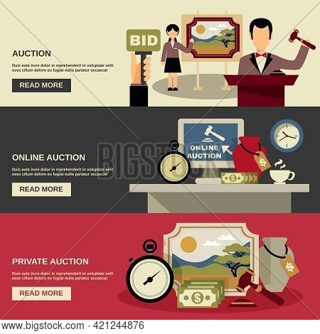 Auction Horizontal Banners Set With Online And Private Auction Symbols Flat Isolated Vector Illustra