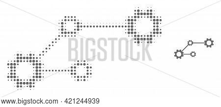 Gear Links Halftone Dot Icon Illustration. Halftone Array Contains Circle Dots. Vector Illustration