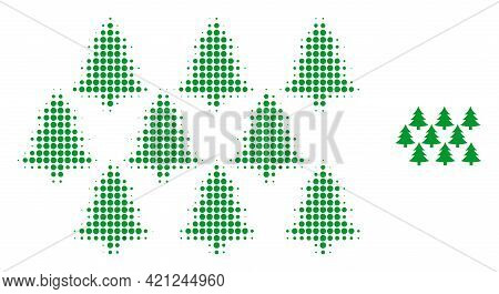 Fir Forest Halftone Dotted Icon Illustration. Halftone Array Contains Round Elements. Vector Illustr