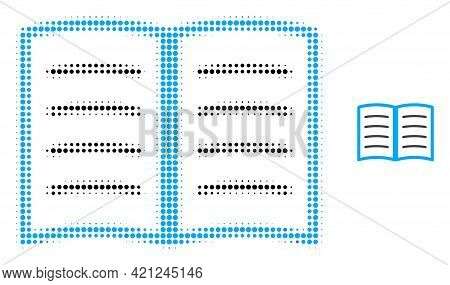 Open Book Halftone Dot Icon Illustration. Halftone Pattern Contains Circle Points. Vector Illustrati
