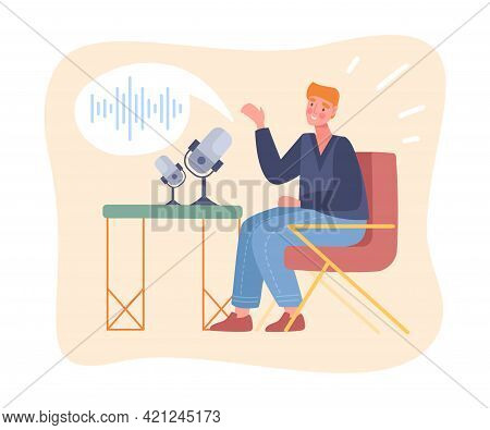 Male Blogger Is Recording Podcast In Studio. Male Character Is Talking In Studio With Microphone To
