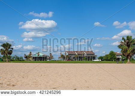 Cypremort Point, La - May 13: Cabins  And Staff Housing At Cypremort Point State Park With Beach In