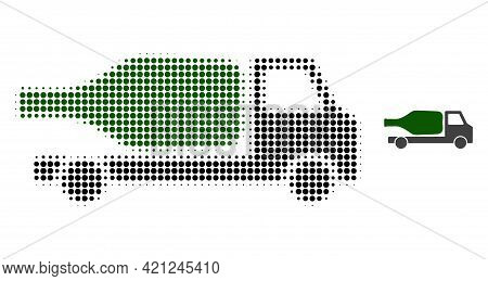 Wine Delivery Halftone Dotted Icon Illustration. Halftone Pattern Contains Circle Dots. Vector Illus
