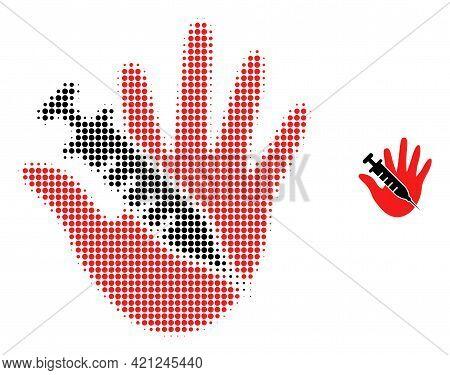 Vaccine Stop Hand Halftone Dotted Icon Illustration. Halftone Array Contains Round Dots. Vector Illu