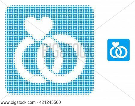 Wedding Rings Halftone Dotted Icon Illustration. Halftone Pattern Contains Round Pixels. Vector Illu