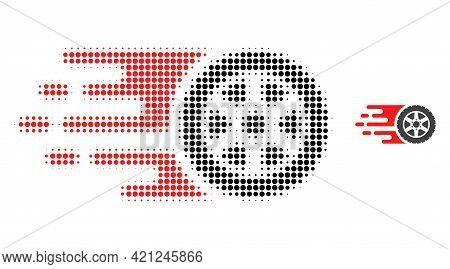 Tire Wheel Halftone Dot Icon Illustration. Halftone Array Contains Round Pixels. Vector Illustration