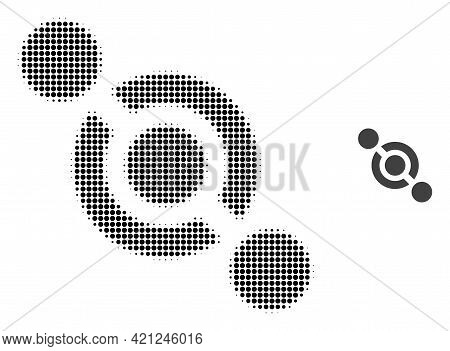 Joint Connector Halftone Dot Icon Illustration. Halftone Pattern Contains Round Elements. Vector Ill