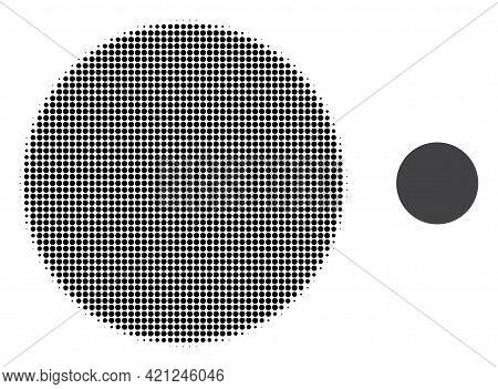 Filled Circle Halftone Dotted Icon Illustration. Halftone Array Contains Circle Elements. Vector Ill