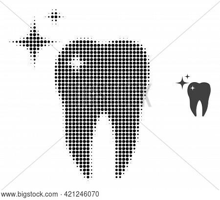 Excellent Tooth Halftone Dotted Icon Illustration. Halftone Pattern Contains Round Points. Vector Il