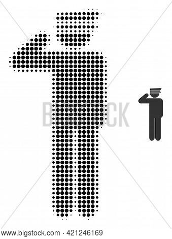 Police Officer Halftone Dotted Icon Illustration. Halftone Array Contains Circle Pixels. Vector Illu