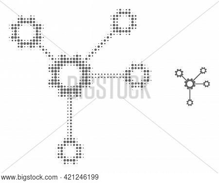 Gear Links Halftone Dot Icon Illustration. Halftone Pattern Contains Round Pixels. Vector Illustrati