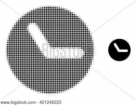 Time Halftone Dot Icon Illustration. Halftone Pattern Contains Circle Points. Vector Illustration Of