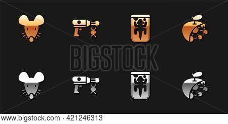 Set Experimental Mouse, Transfer Liquid Gun, Animal And Biological Structure Icon. Vector