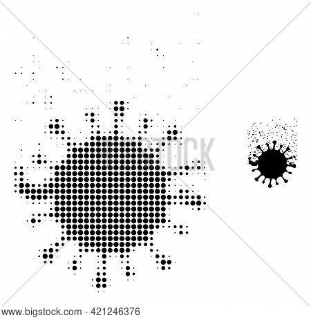 Virus Dissipation Halftone Dot Icon Illustration. Halftone Array Contains Round Pixels. Vector Illus