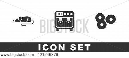 Set Experimental Mouse, Biosafety Box And Cell Division Icon. Vector
