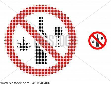 Forbidden Wine Drugs Halftone Dot Icon Illustration. Halftone Pattern Contains Circle Elements. Vect