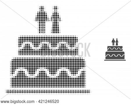 Marriage Cake Halftone Dot Icon Illustration. Halftone Pattern Contains Round Pixels. Vector Illustr