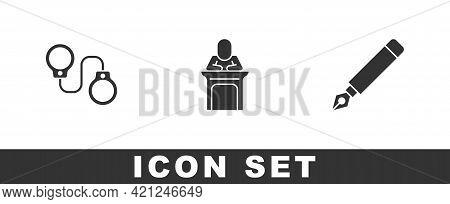 Set Handcuffs, Judge And Fountain Pen Nib Icon. Vector