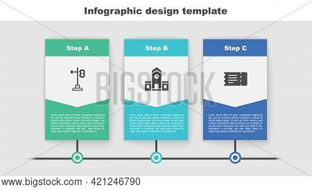 Set Train Traffic Light, Railway Station And Ticket. Business Infographic Template. Vector