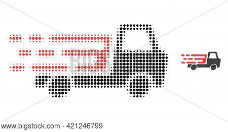 Delivery Car Chassi Halftone Dotted Icon Illustration. Halftone Array Contains Round Elements. Vecto