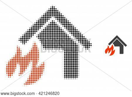 House Fire Disaster Halftone Dotted Icon Illustration. Halftone Pattern Contains Circle Elements. Ve